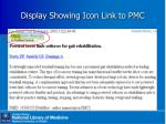 display showing icon link to pmc