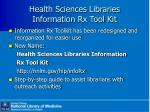 health sciences libraries information rx tool kit