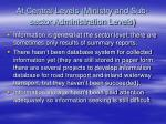 at central levels ministry and sub sector administration levels