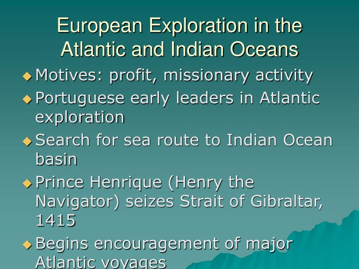 European Exploration in the Atlantic and Indian Oceans