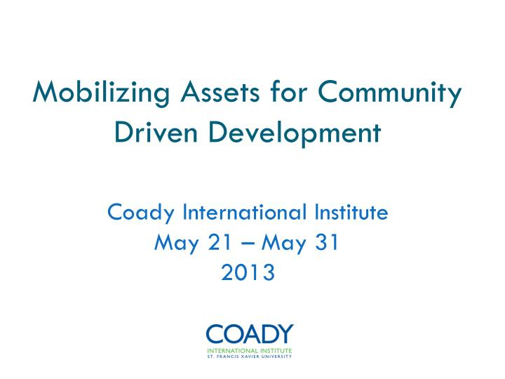 mobilizing assets for community driven development n.