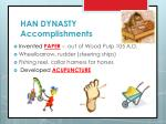 han dynasty accomplishments