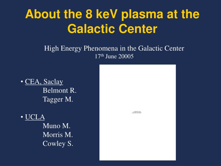about the 8 kev plasma at the galactic center n.