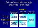 pet me unarodnih strategija proizvoda i promocije