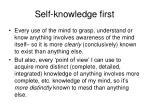 self knowledge first