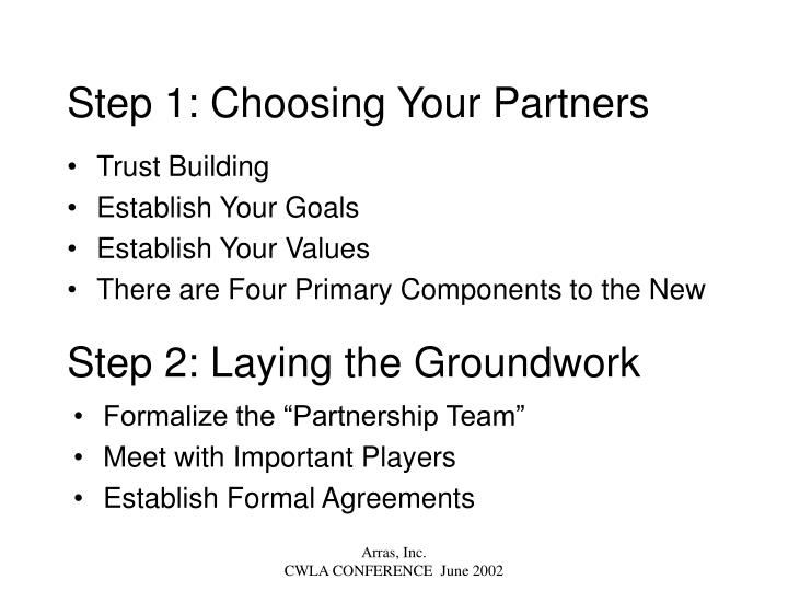 Step 1: Choosing Your Partners