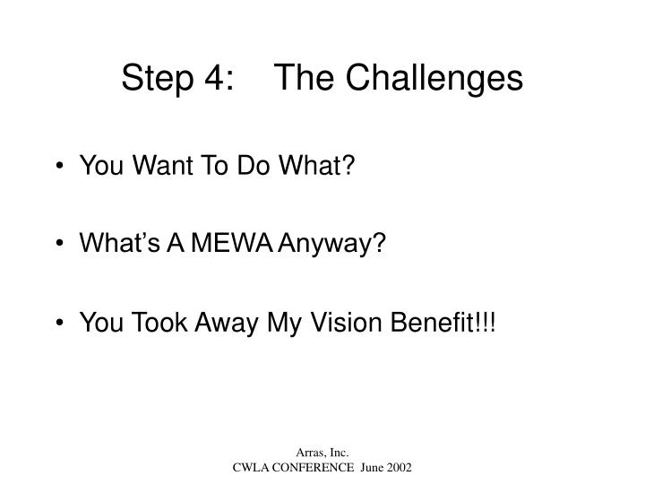 Step 4:    The Challenges