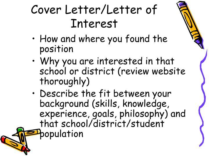 Cover Letter/Letter of Interest