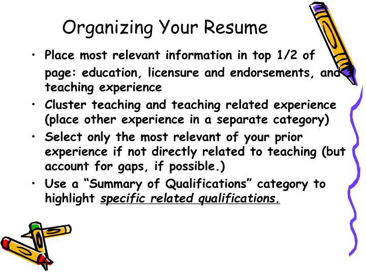 Organizing Your Resume