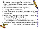resume layout and appearance