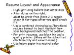 resume layout and appearance1