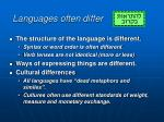 languages often differ