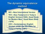 the dynamic equivalence method