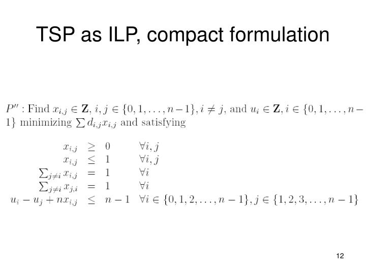TSP as ILP, compact formulation