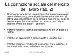 la costruzione sociale del mercato del lavoro tab 2