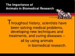 the importance of animals in biomedical research1