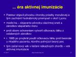 ra akt vnej imuniz cie