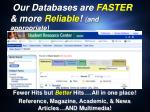 our databases are faster more reliable and appropriate