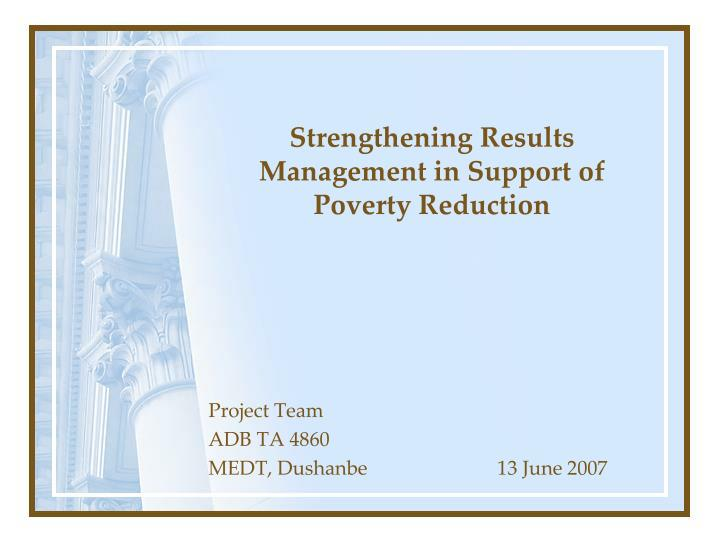 strengthening results management in support of poverty reduction n.