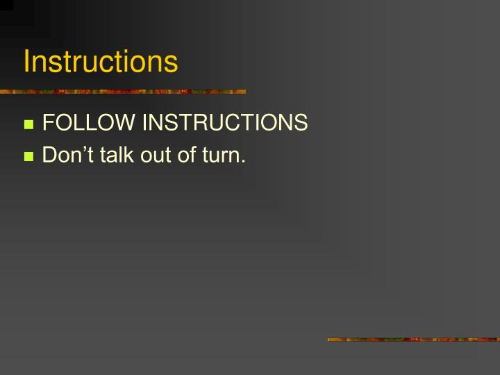 instructions n.