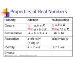 properties of real numbers10