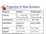 properties of real numbers12