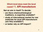 which level does meet the local needs 1 api manufacture