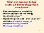 which level does meet the local needs 2 finished drug product manufacture