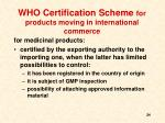 who certification scheme for products moving in international commerce