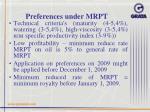 preferences under mrpt