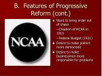 b features of progressive reform cont