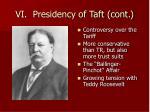 vi presidency of taft cont
