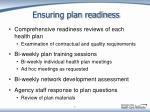 ensuring plan readiness
