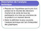description de l analyse technique