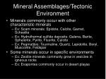 mineral assemblages tectonic environment