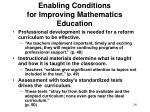 enabling conditions for improving mathematics education