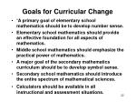goals for curricular change
