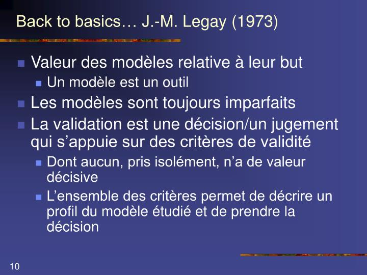 Back to basics… J.-M. Legay (1973)