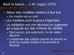 back to basics j m legay 1973