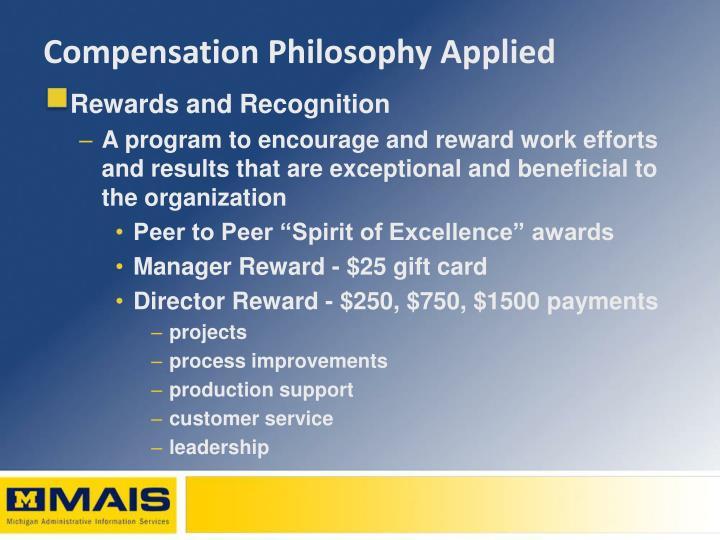 Compensation Philosophy Applied