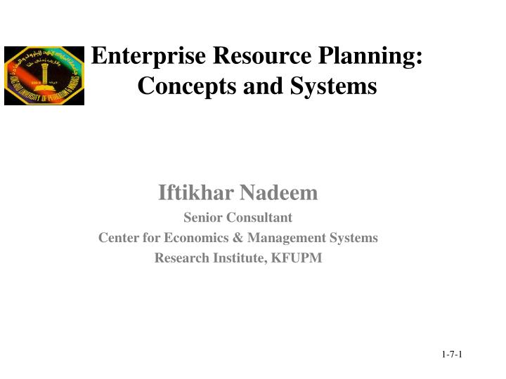 enterprise resource planning concepts and systems n.