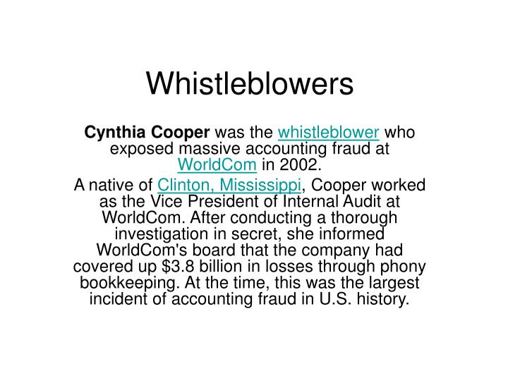 whistleblowers n.