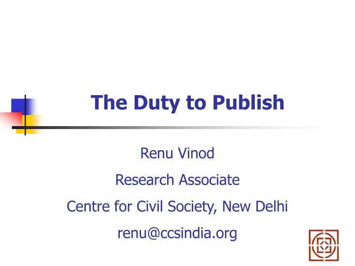 the duty to publish n.