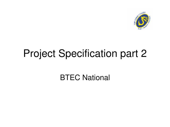 project specification part 2 n.