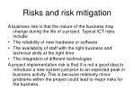 risks and risk mitigation1