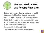 human development and poverty reduction