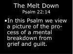 the melt down psalm 22 148