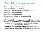 passo 2 definir a equipe de projeto