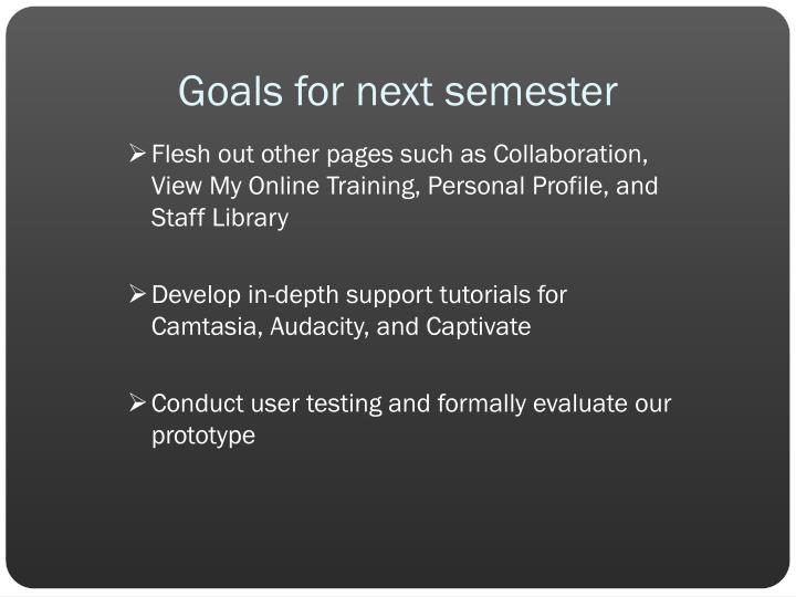 Goals for next semester