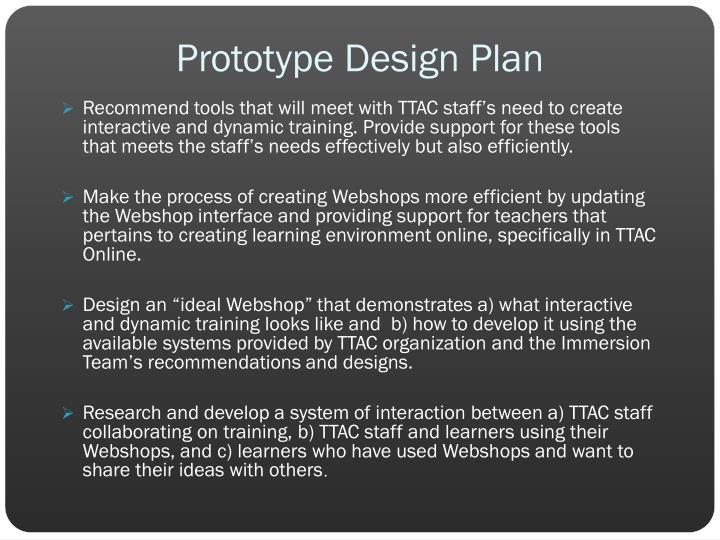 Prototype Design Plan